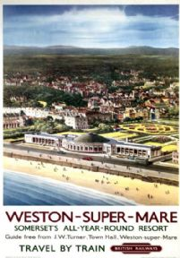 Weston Super Mare, Somerset, British Railways Travel by Train Poster Print